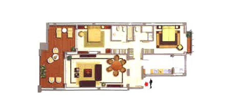 The floor plan shows an apartment with 2 bedrooms and 2 bathrooms.